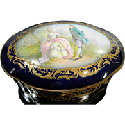 Antique Hand Painted Sevres Style Porcelain Trinket or Jewel Box – France 19th Century