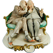Vintage Hand Painted Capodimonte or Dresden Porcelain Figurine Set Gossip – Italy 20th Century