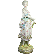 Antique Large Hand Painted Meissen Style / Limbach Porcelain of a Peasant – Germany 19th Century