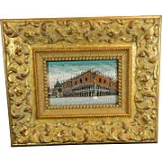 Antique Grand Tour Framed Micro Mosaic or Pietra Dura Plaque– Italy Early 20th Century