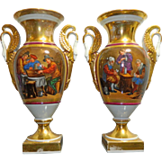 Antique Pair of Hand Painted Royal Vienna Style Porcelain Urns – Europe 19th Century