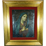 Antique Oil Painting on Copper of Our Mother of Sorrows – Mexico 19th Century