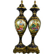 Vintage Pair of Hand Painted Sevres Style Porcelain Urns – Spain 20th Century