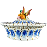Old Hand Painted Sevres Porcelain Covered Candy Tray with Encrusted Fruits and Insects – France 20th Century