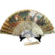 Antique Two Sided Hand Painted European Fan Mother of Pearl Sticks– Europe 19th Century