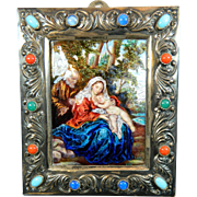 Antique Hand Painted Enamelled Porcelain Plaque of The Sacred Family – France 19th Century