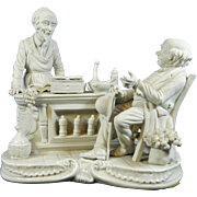 Vintage Capodimonte Biscuit or Parian Porcelain Figurine Set – Two Old Men in Pharmacy – Italy 20th Century