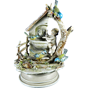 Vintage Hand Painted Borsato Porcelain Figurine Set – Cherub in a Fountain – Italy 20th Century