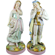 Antique Pair of Hand Painted Porcelain Figurines or Statues Vion & Baury Style – France 19th Century