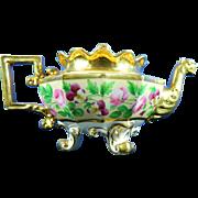 Antique Hand Painted Jacob Petite Porcelain Tea Kettle – France 19th Century