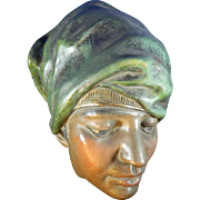 Old Terracotta Head of a Woman – Hand Painted and Polychromed – Austria 20th Century