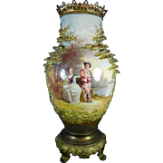 Antique Hand Painted Sevres Style Urn with Encrusted Trees Signed C. Garnier – France 19th Century