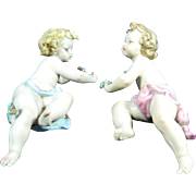 Old Pair of Hand Painted Capodimonte – Dresden Porcelain Cherubs – Italy 20th Century