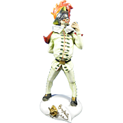 Old Hand Painted Cacciapuoti Porcelain Figurine of Brighella – Italy 20th Century