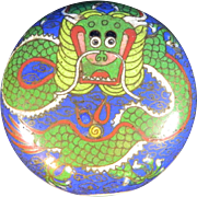 Old Chinese Cloisonné Pill Box Decorated with Imperial Dragon on the Cover – China 20th Century