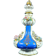 Antique Hand Painted Jacob Petite Porcelain Perfume Bottle with Encrusted Flowers – France 19th Century