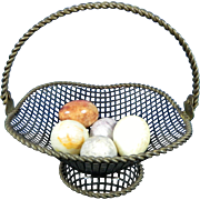 Vintage Set of Metal Basket and 5 Alabaster Eggs – Mexico 20th Century