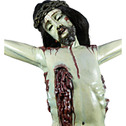 Antique Large Hand Carved Wood Statue of Christ on the Cross or Crucifix – Mexico 18th Century