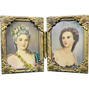Old Pair of Miniature Portraits of Two Ladies in Gutta-percha and Ormolu Frames – France 20th Century