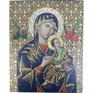 1850-1899 Virgin Mary and Baby Jesus Icon Painting on Copper Plaque Europe