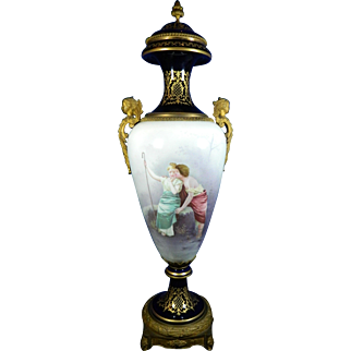 1850-1899 Multi-Color Monumental Sevres Porcelain Urn France