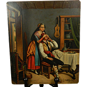 1850-1899 Multi-Color Painting on Thin Metal Signed Europe