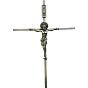 1900-1940 Large Chiseled 915 Silver Crucifix with Corpus Spain