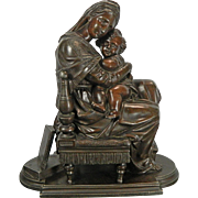 1850-1899 Statue Figurine of the Virgin of the Chair with Baby Jesus Metal France