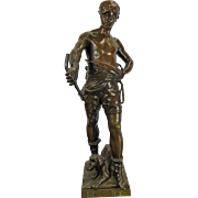 1850-1899 Bronze Statue Figurine Belluaire by Eugene Marioton France