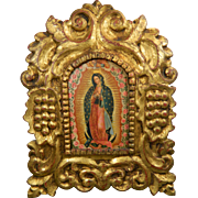 1850-1899 Multi-Color Painting on Copper The Virgin of Guadalupe México