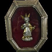 1900-1940 Framed Chiselled Vermeil Silver Baby Jesus Image Spain