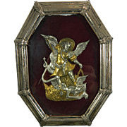 1900-1940 Framed Chiselled Vermeil Silver Archangel Saint Michael Image Spain