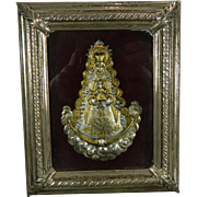 1900-1940 Framed Chiselled Vermeil Silver Virgin Mary of Atocha Image Spain