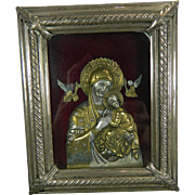 1900-1940 Framed Chiselled Vermeil Silver Virgin of Perpetual Help Image Spain