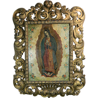 1800-1899 Multi-Color Framed Painting on Copper Our Lady of Guadalupe México