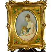 Antique Framed Miniature Painting – Portrait of Mother and Daughter – France 19th Century