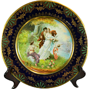 Vintage Hand Painted Royal Vienna Porcelain Plate or Charger – Austria 20th Century