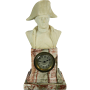 Antique Hand Carved White Alabaster and Pink Marble Clock with the Bust of Napoleon – France 19th Century