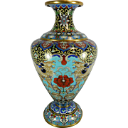 Vintage Cloisonné Vase or Urn Decorated with Royal Birds – China 20th Century