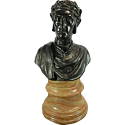 Antique Bronze Bust of Dante Mounted on an Alabaster Stand – France 19th Century