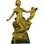 Antique Gold Gilded Bronze Statue by Georges Bareau – Poetry – France 20th Century