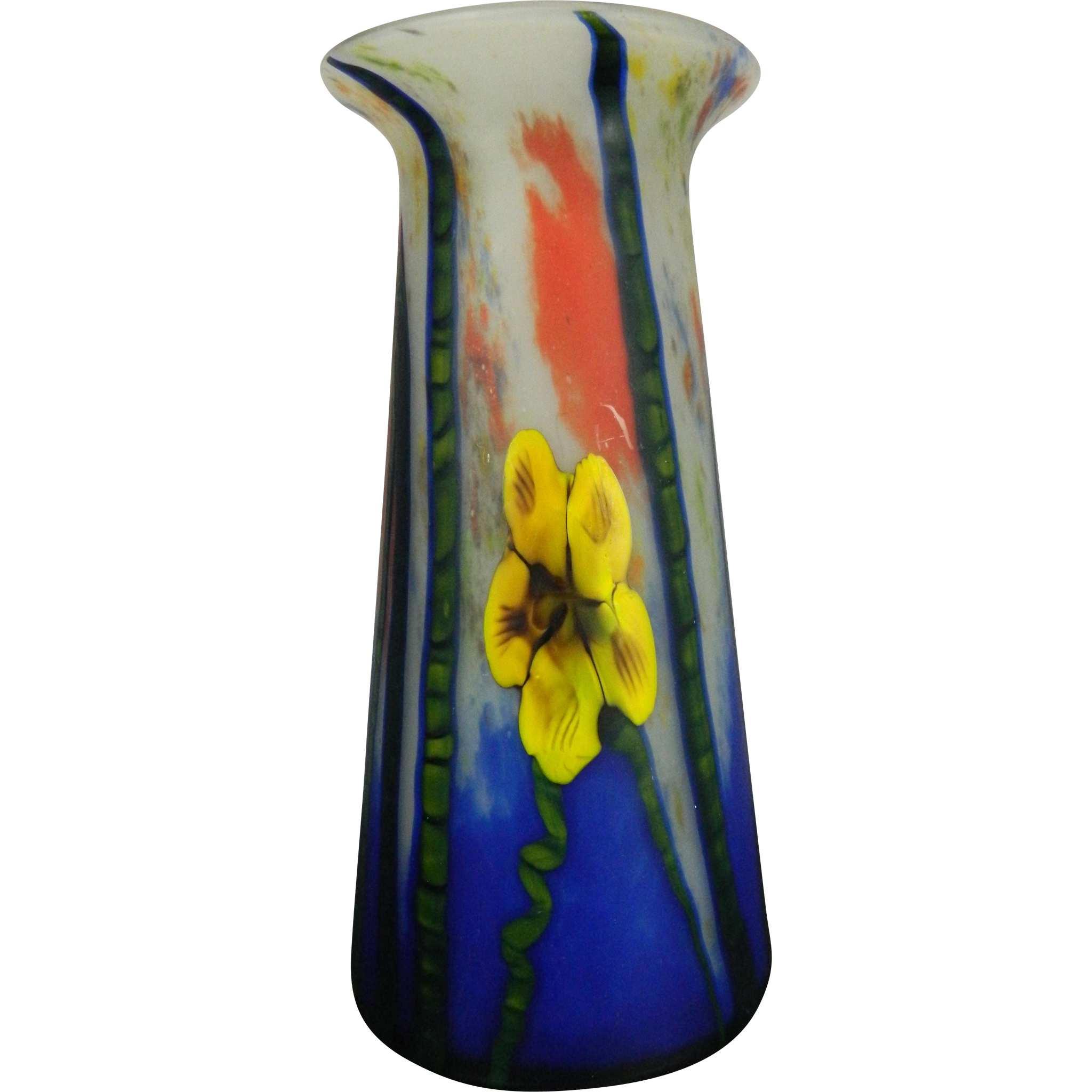 antique art nouveau style flower vase in glass