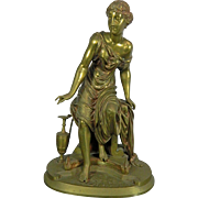 Antique Gold Gilded Bronze Statue by Emile Bruchon – Classical Woman – France 19th Century