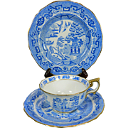 Vintage Blue and White Set Copeland & Spode Porcelain – Cup + Saucer + Dessert Plate – Great Britain 20th Century