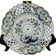 Vintage Hand Painted Meissen Porcelain Reticulated Charger – Blue Onion Pattern – Germany 20th Century