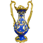 Antique Blue Porcelain Vase with Hand Painted Flowers – France 19th Century