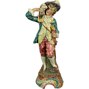 Vintage Hand Painted Majolica Porcelain Figurine of a Shepherd – Italy 20th Century