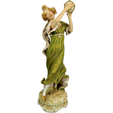 Vintage Hand Painted Royal Dux Porcelain Figurine of a Girl Playing a Tambourine – Czech Republic 20th Century