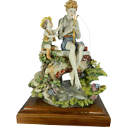 Vintage Hand Painted Capodimonte Style Porcelain Figurine Set – The Fisher Boys – Italy 20th Century