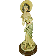 Vintage Hand Painted Capodimonte Plaster or Resin Figurine of a Lady – Italy 20th Century